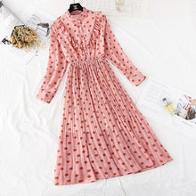 Load image into Gallery viewer, Spring and Autumn Style Floral-Print Chiffon Dress Women's French Vintage Base Dress Fairy Immortal Dress