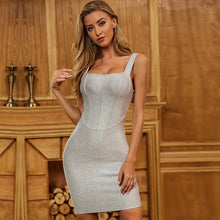 Load image into Gallery viewer, Adyce Spaghetti Strap Bodycon Mini Grey Celebrity Runway Club Party Dress