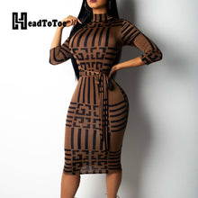 Load image into Gallery viewer, Striped Colorblock Insert Women Bodycon Dress Three Quarters Sleeve Mock Neck Office Ladies Casual Midi Dress