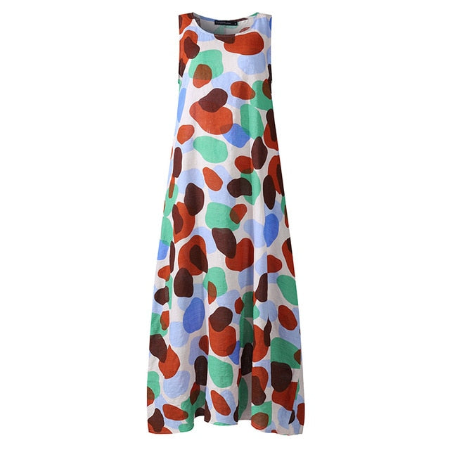 ZANZEA Elegant Summer Maxi Dress Printed Sundress