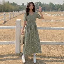 Load image into Gallery viewer, Dress Women Single Breasted French Style Plaid Yellow Green Loose Dresses Leisure Lovely Korean Elastic Waist Elegant Colorful