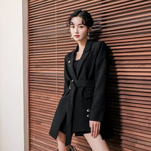 Load image into Gallery viewer, LANMREM Autumn fashion French style single button elegant small Black suit jacket