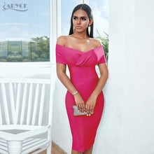 Load image into Gallery viewer, Adyce Women Off Shoulder Bandage Club Short Sleeve Rose Red Celebrity Runway Party Bodycon Dress