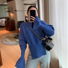 Load image into Gallery viewer, French Irregular Side Split Bell Sleeve Sweater Outside Loose Sweater