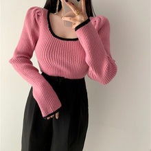 Load image into Gallery viewer, Spring Fashion Bubble Sleeve  French Style Retro Soft Square Collar Leaky Collarbone  Long Sleeve Knitted Sweater
