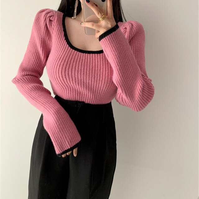 Spring Fashion Bubble Sleeve  French Style Retro Soft Square Collar Leaky Collarbone  Long Sleeve Knitted Sweater