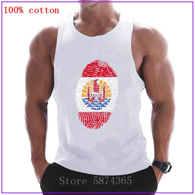 French Polynesia Flag Fingerprint clothing Singlets Mens Tank Top Muscle Shirt Stringer Bodybuilding Fitness Vest