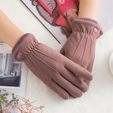 Load image into Gallery viewer, Winter Lace Warm Cashmere Mittens Double thick Plush French Romantic Style Wrist Women Touch Screen Driving Gloves