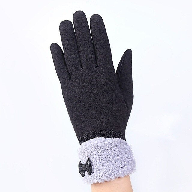 Winter Lace Warm Cashmere Mittens Double thick Plush French Romantic Style Wrist Women Touch Screen Driving Gloves