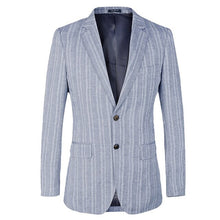 Load image into Gallery viewer, Striped Mens Blazer Slim Fit Suit Jacket for wedding french Style cotton linen Blue Blazer