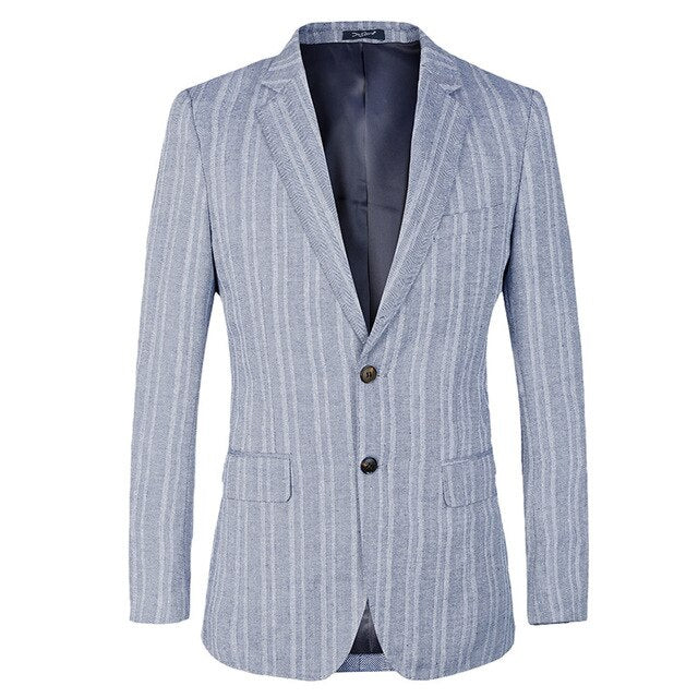 Striped Mens Blazer Slim Fit Suit Jacket for wedding french Style cotton linen Blue Blazer