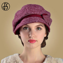 Load image into Gallery viewer, FS Wool Hats Women Winter French Beret Felt Fedora For Church Lady Hat Blue Red Gray Warm Casual Female Fashion Hats Feminino