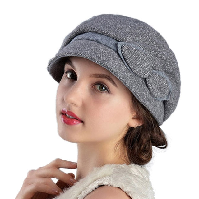 FS Wool Hats Women Winter French Beret Felt Fedora For Church Lady Hat Blue Red Gray Warm Casual Female Fashion Hats Feminino