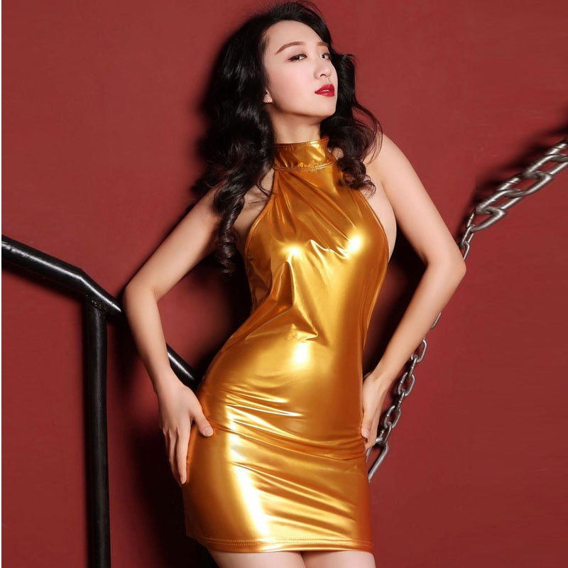 Patent Leather PU Faux Leather Shiny Dress Women Backless Halter Hot Sexy Dresses Candy Color Minidress Night Club Party Vestido