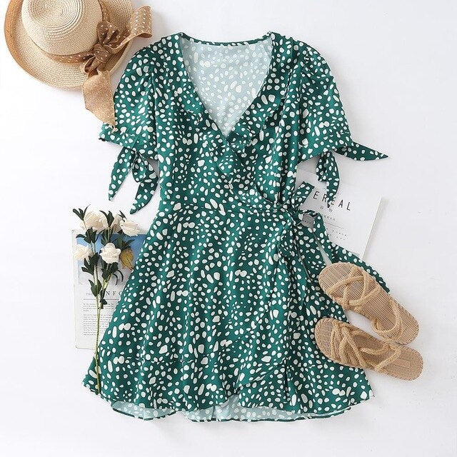 Women French Style Fashion with Dot Print Green Chiffon Minidress