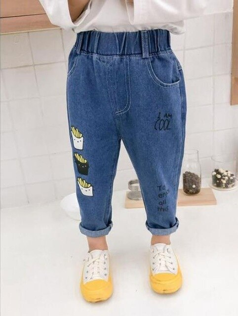 Jeans Pants Cartoon For Kids Children Trousers 2-6Yrs Boys Girls Jeans Casual Pants