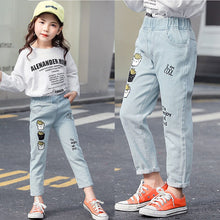 Load image into Gallery viewer, Spring Girls Jeans Cartoon French Fries Casual Printed Elastic Pants Simple Baby Denim Trousers 2 To 8 Years Children'S Jeans