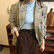 Load image into Gallery viewer, HziriP Vintage Preppy Style Houndstooth Woolen Casual Fashion Blazer Loose Elegant Retro Slender Office Lady Coat
