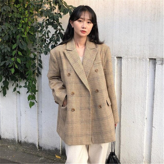 HziriP Vintage Preppy Style Houndstooth Woolen Casual Fashion Blazer Loose Elegant Retro Slender Office Lady Coat