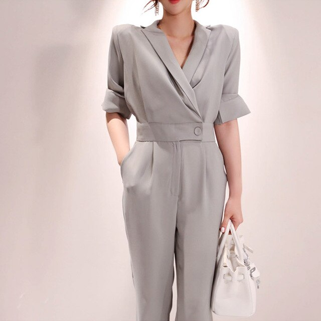 SMTHMA Fashion Office Chic Lady Style Elegant Women Notched Collar Summer Romper Female Overalls  Casual Jumpsuit
