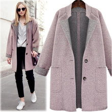 Load image into Gallery viewer, Women Jackets European Style Plus Size 4XL Female Outerwear Loose Wool&Blends Basic Coats Brand Cardigans