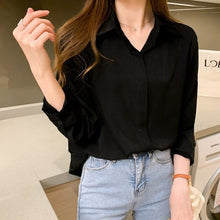 Load image into Gallery viewer, Autumn Black Long Sleeve Fashion Women Blouses Korean Office Lady Style POLO Collar Simple Woman's Shirt