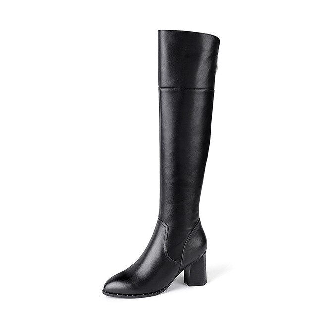MORAZORA Genuine leather women boots black color buckle winter keep warm knee high boots big size 34-42