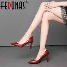 Load image into Gallery viewer, FEDONAS Women High Heel Pumps Genuine Leather Pointed Toe Slip On Party Wedding Shoes Woman Spring Summer Pump
