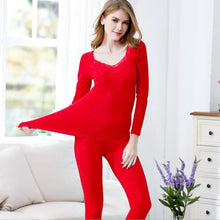 Load image into Gallery viewer, Women Sexy V-neck Long Johns Winter Cotton Second Female Thermal Skin Warm Suit Korean Printed Lace Thermal Underwear For Women