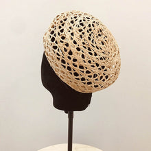 Load image into Gallery viewer, Trendy Summer Women Beret Cloche Raffia Sun Hat Adjustable Girl Straw Beret Sun Beach Cap Ladies French Style Papyrus Beret