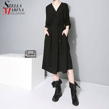 Load image into Gallery viewer, Women Black Office Lady Stylish Dress V Neck Half Sleeve Elegant Work Wear Midi Chiffon Dress