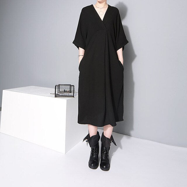 Women Black Office Lady Stylish Dress V Neck Half Sleeve Elegant Work Wear Midi Chiffon Dress