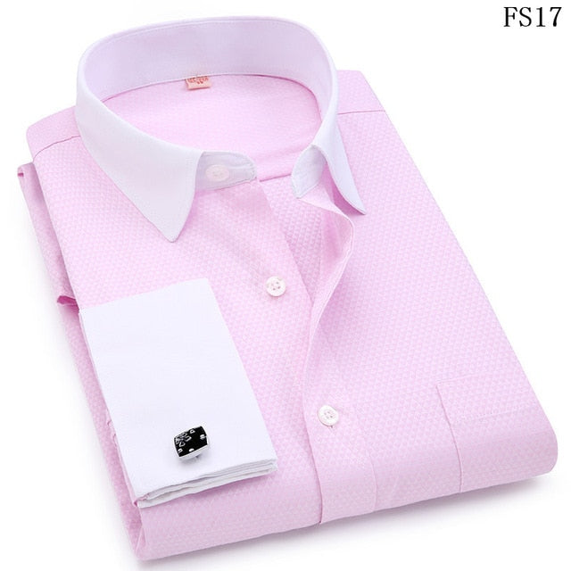 Men French Cufflinks Shirts White Collar Design Solid Color Jacquard Fabric Male Gentleman Dress Long Sleeves Shirt