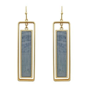 "Grey Epoxy and Gold Rectangle 2"" Earrings - The Bunny House Co."