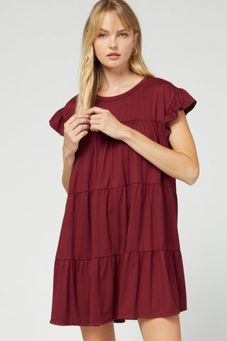 Image of Wine Tiered dress