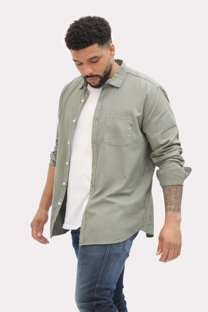 Replay Sage Green Cotton Twill Shirt