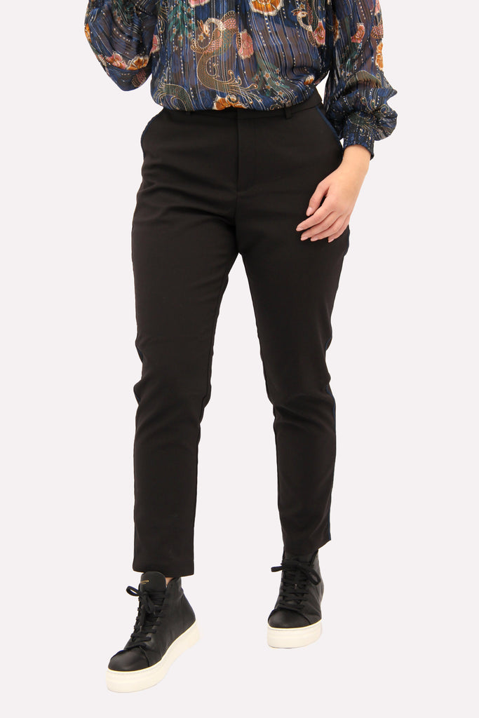 Scotch & Soda Black Tapered Trouser with Navy Stripe