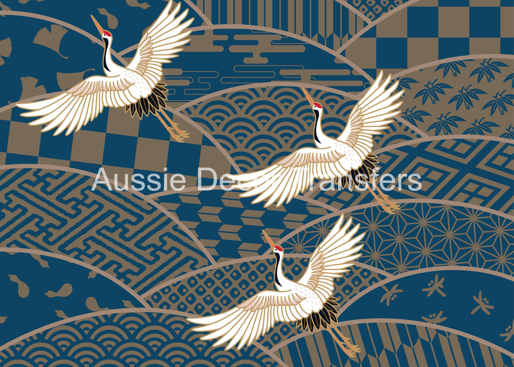 Three Japanese Cranes in Flight - Poster Print available AUS ONLY atm