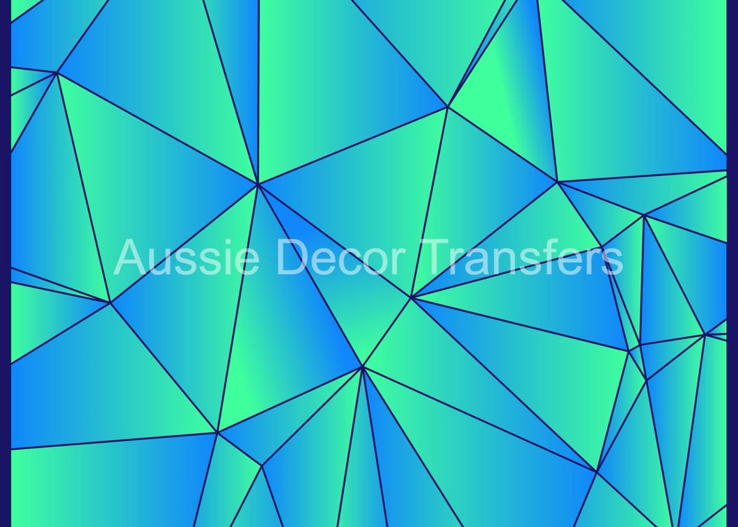 Blue & Green Geometrical - Poster Print available AUS ONLY atm