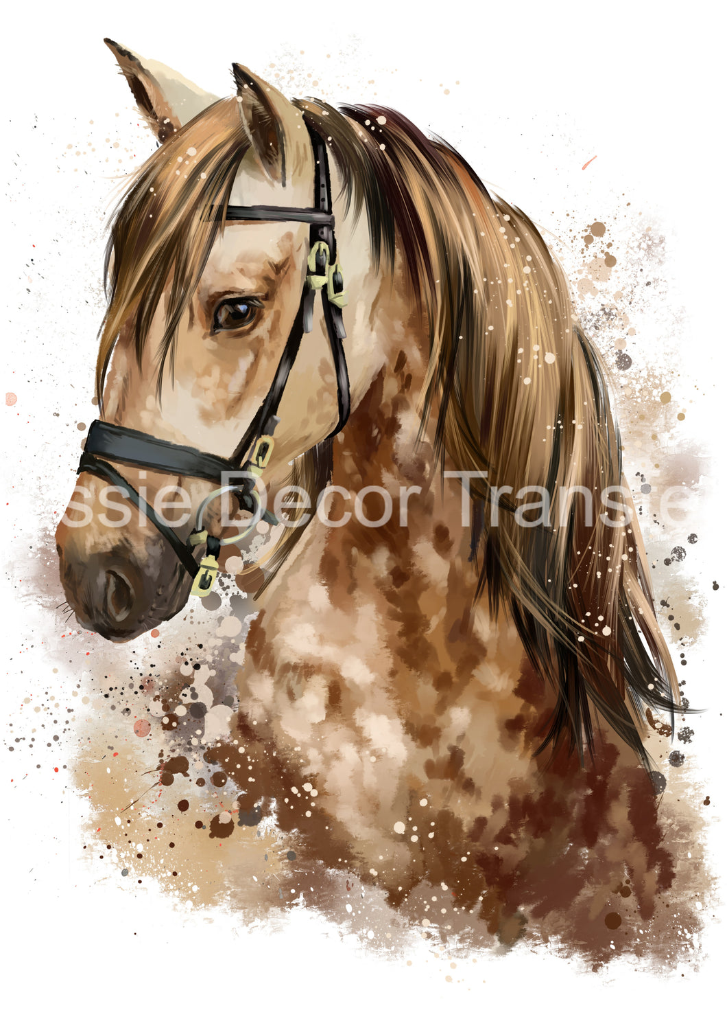 Dappled Brown Watercolour Horse A3 Poster Print available AUS ONLY atm