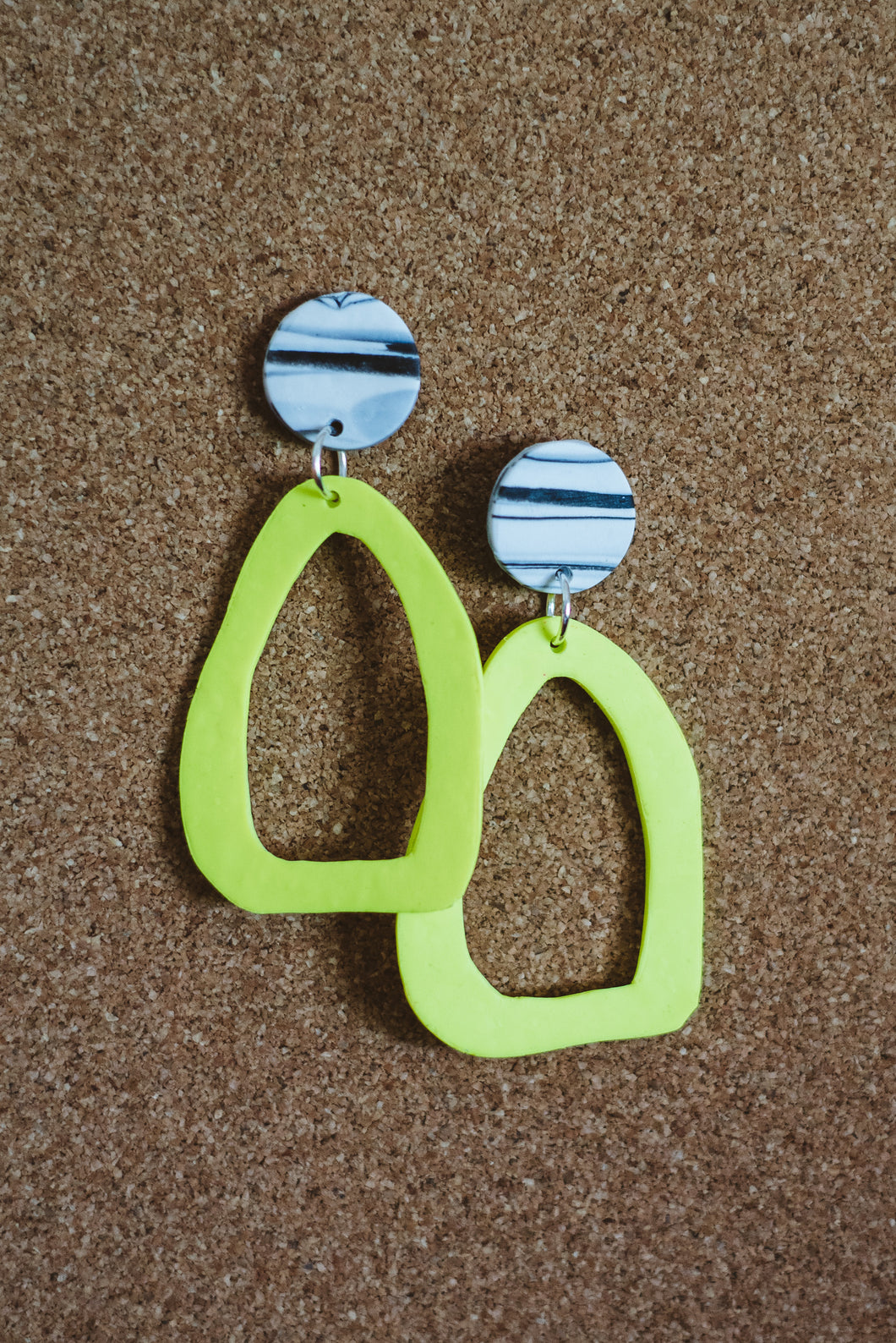 Neon Yellow Abstract Hoops