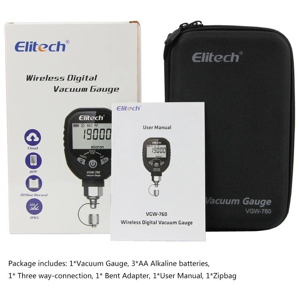 Elitech SVP-7 Vacuum Pump 7 CFM 2 Stage Intelligent HVAC VGW-760 Wireless Digital Vacuum Gauge Micron Gauge for HVAC - Elitech Technology, Inc.
