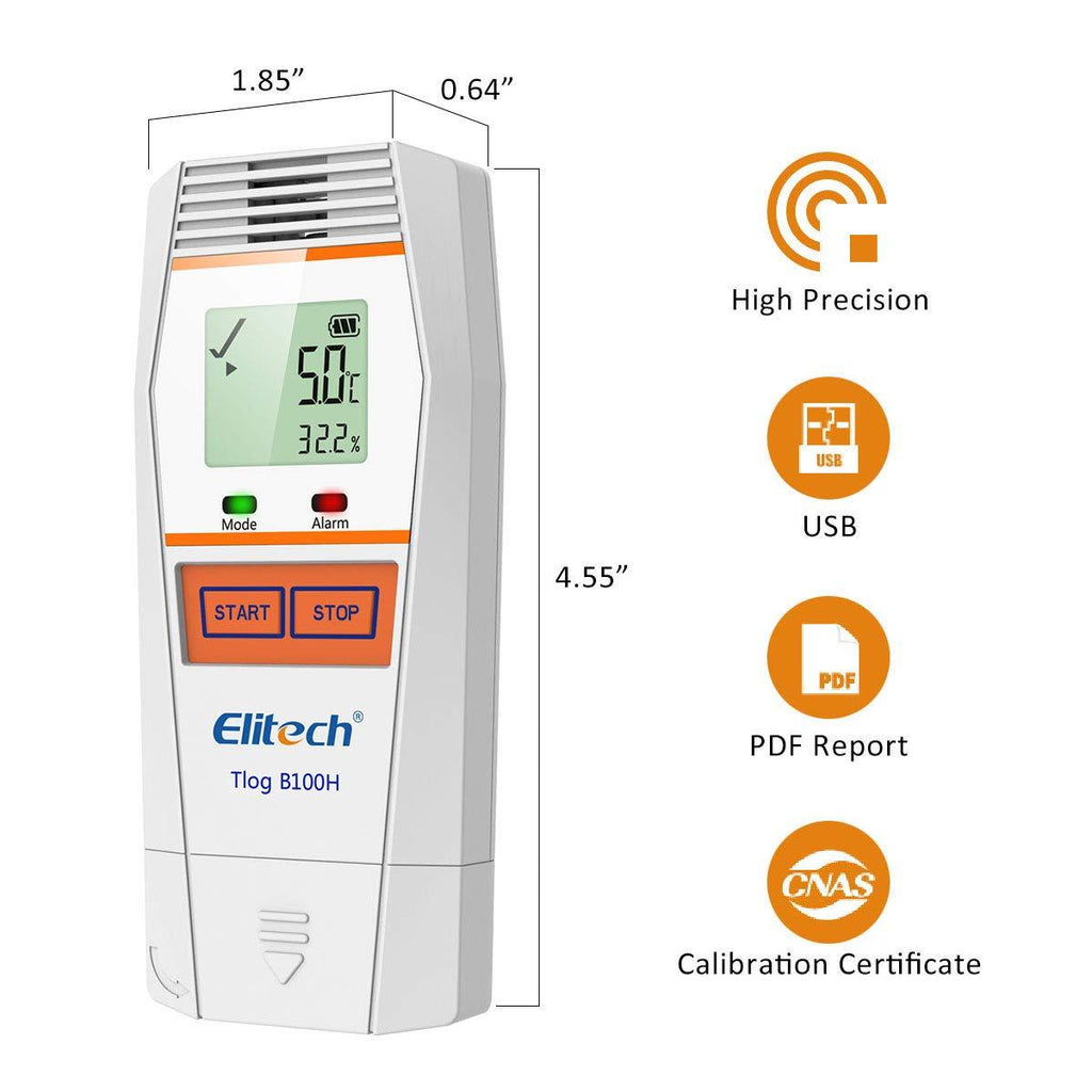 Elitech Tlog B100H Temperature and Humidity Data Logger Wireless Reusable Temperature Recorder PDF Report 32000 Points - Elitech Technology, Inc.
