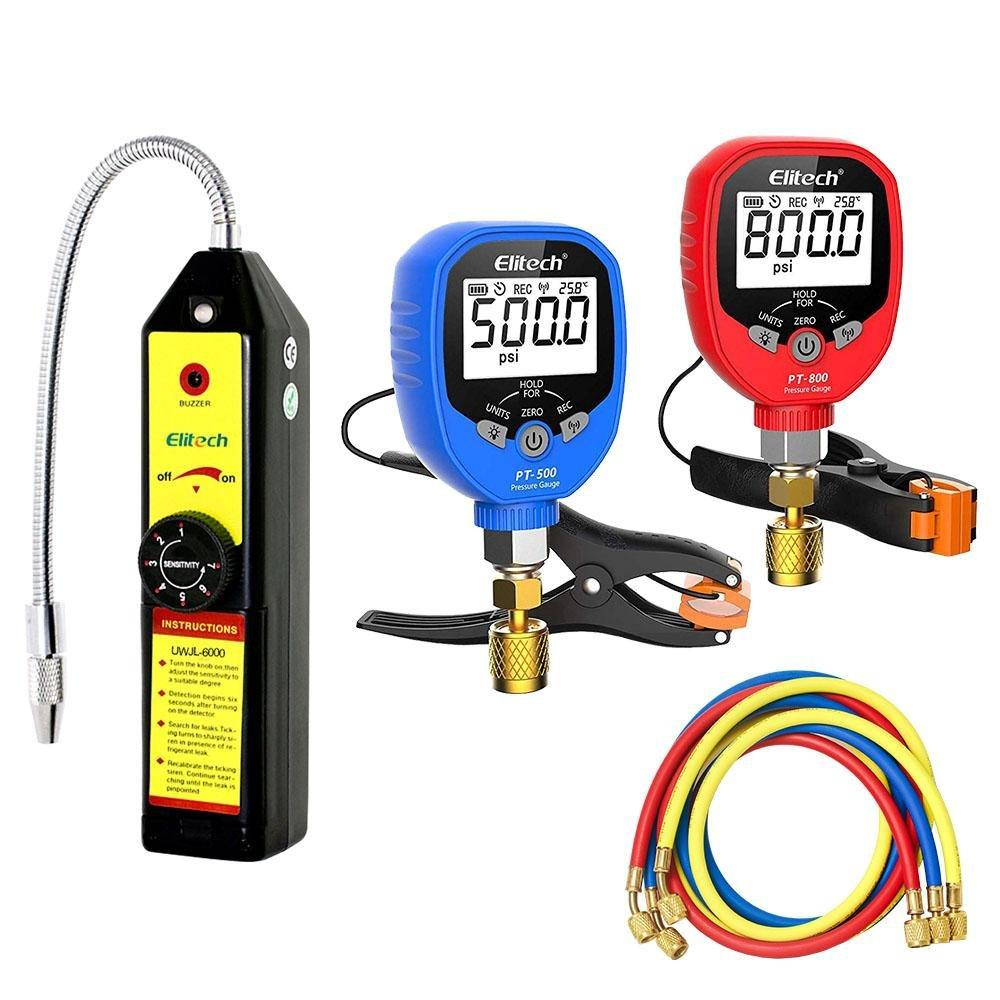 Elitech WJL-6000 Refrigerant Leak Detector Freon Leak Detector + PT-500/800 Wireless AC Manifold Gauge Set 2 Way 3x59'' Hose - Elitech Technology, Inc.