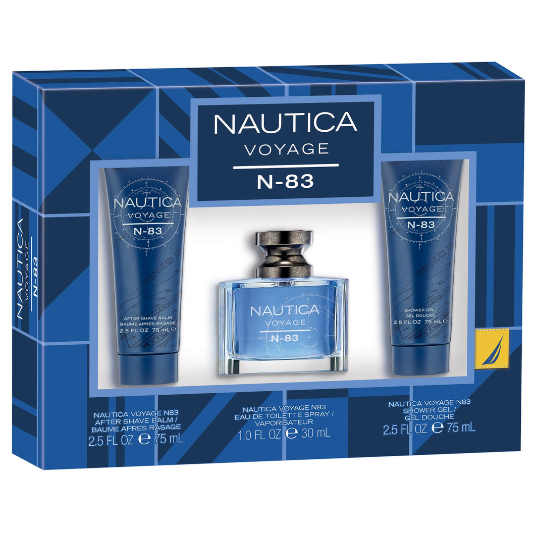 Set - Nautica Voyage N-83 30ml Edt Spr + 75ml S/G + 75ml ASB