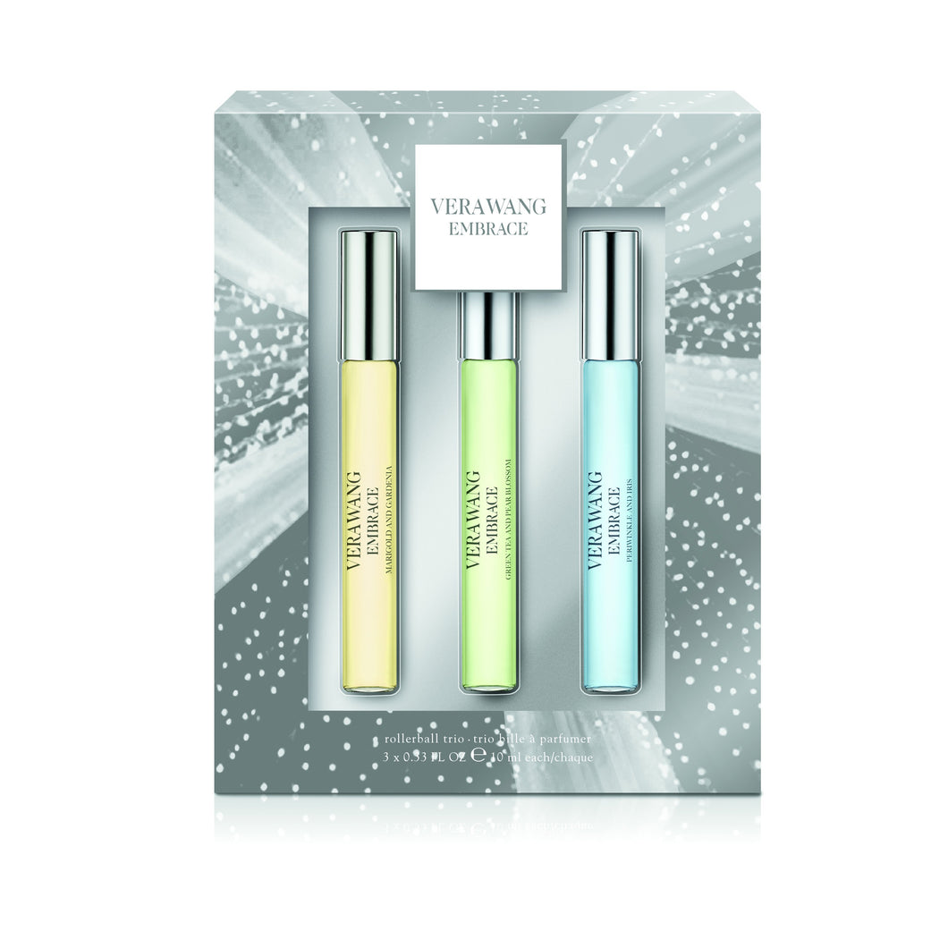 Set - Vera Wang Marigold Trio R/B - 1 x 10ml Each - Rose Buds & Vanilla + Green Tea & Pear Blossom + Periwinkle & Iris