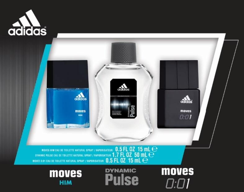 Set - Adidas Omni - Dynamic Pulse 50ml Edt Spr + Moves for Him 15ml Edt Spr + Moves 0:01 15ml Edt Spr (M)