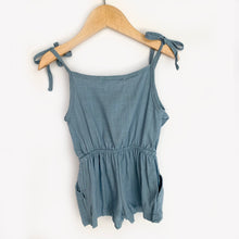 Load image into Gallery viewer, Medium Blue Linen Tie Romper