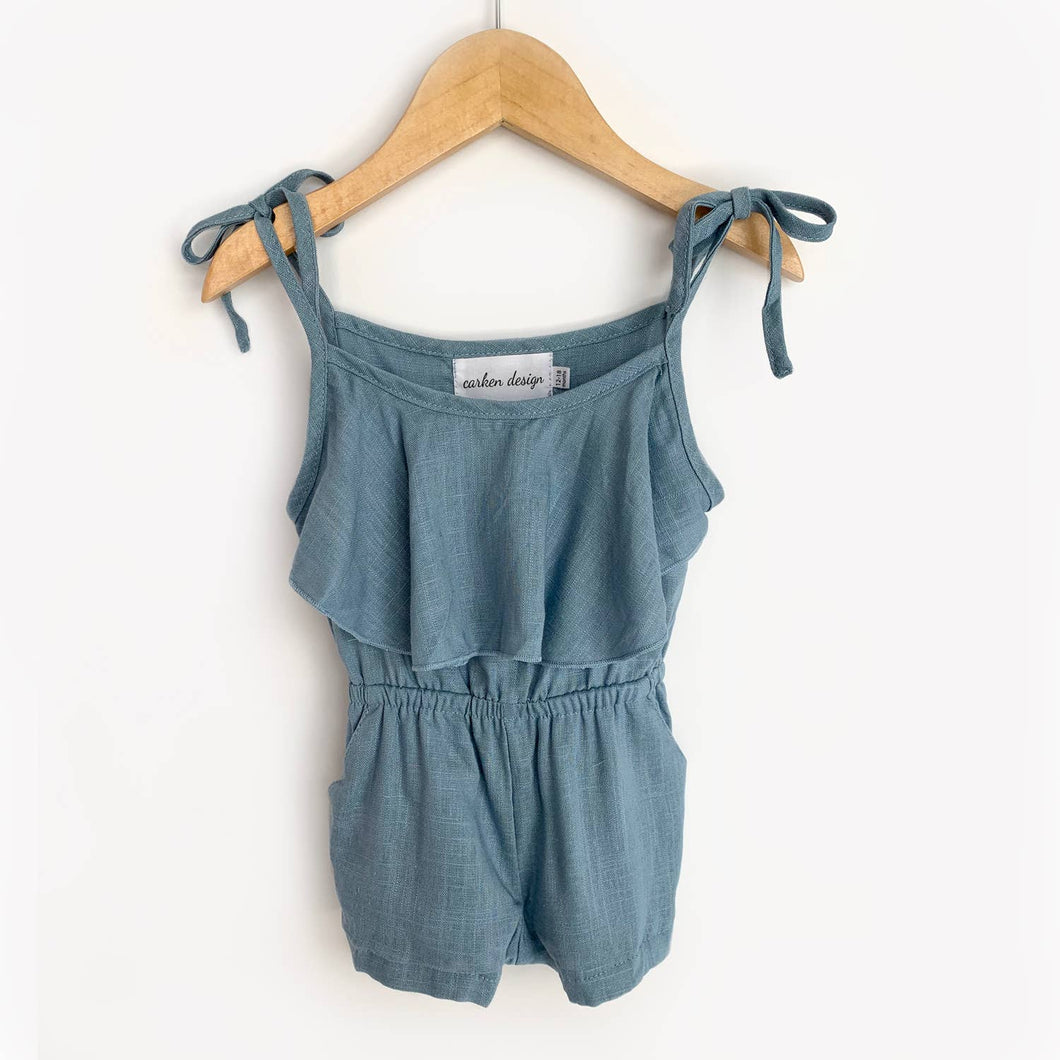 Medium Blue Linen Tie Romper