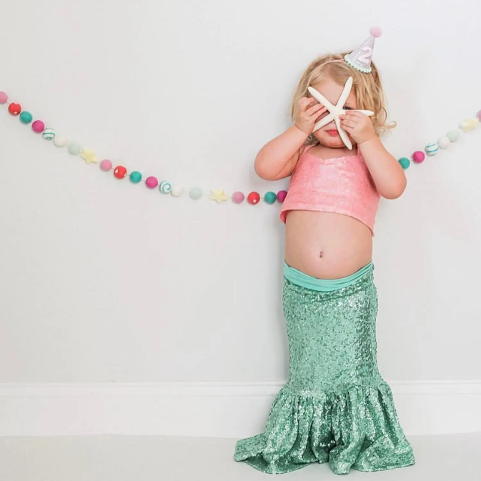 Aqua Sequin Mermaid Skirt